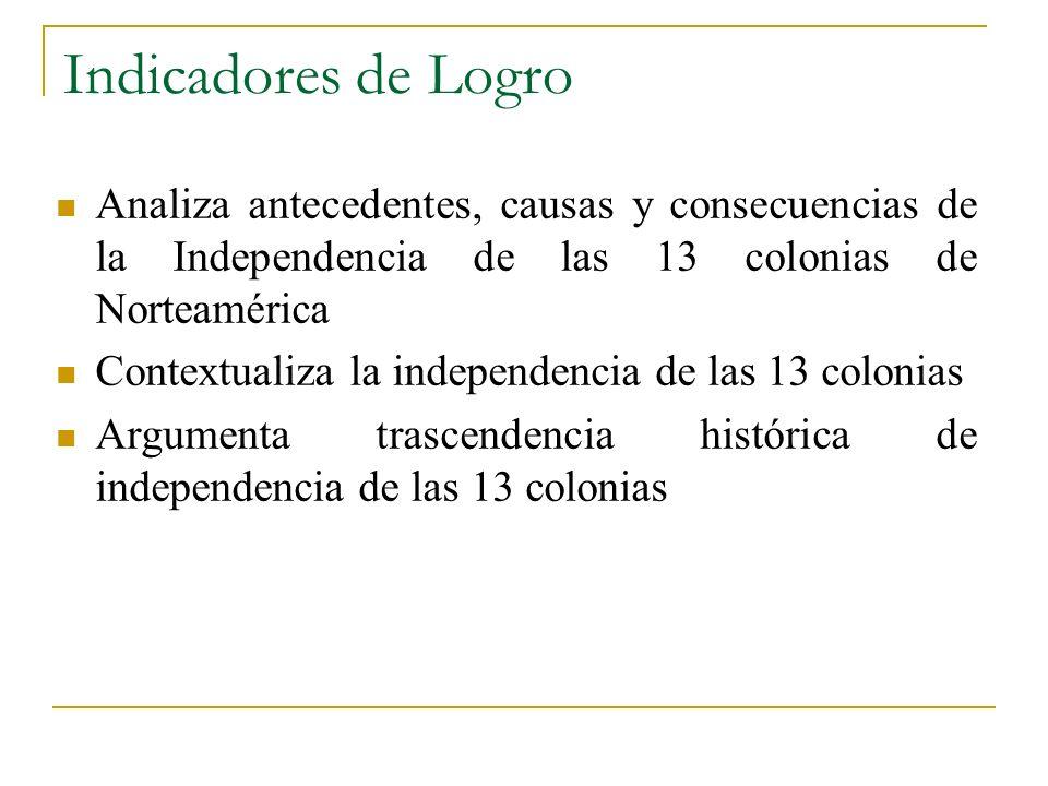 Indicadores de LogroAnaliza antecedentes, causas y consecuencias de la Independencia de las 13 colonias de Norteamérica.