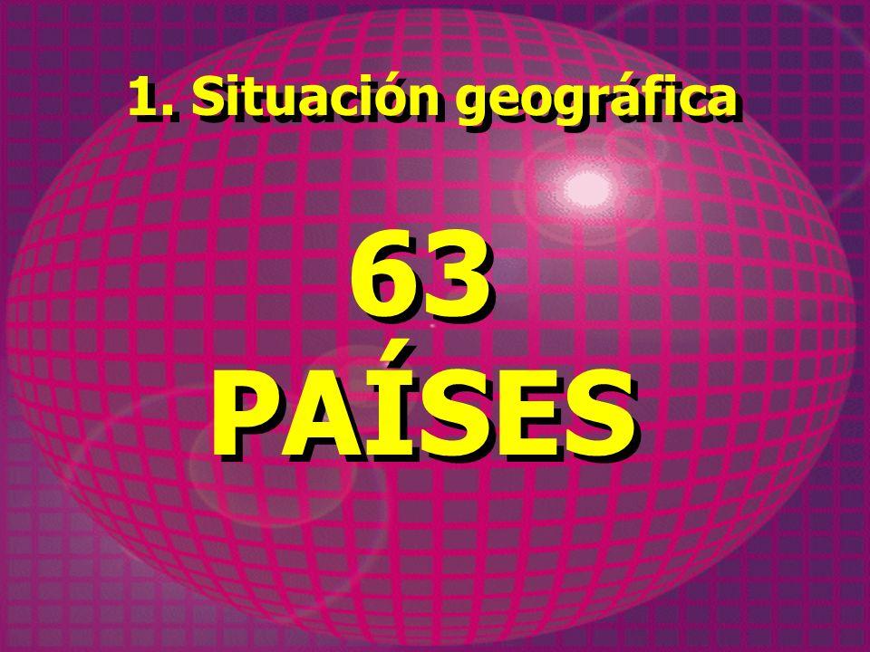 1. Situación geográfica 63 PAÍSES