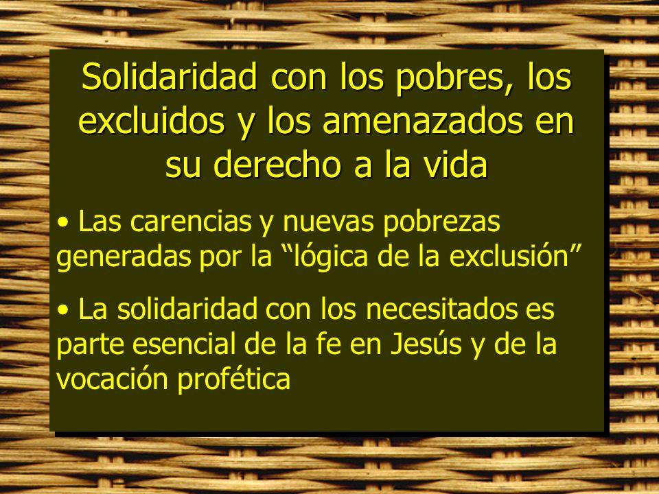 Solidaridad con los pobres, los excluidos y los amenazados en su derecho a la vida