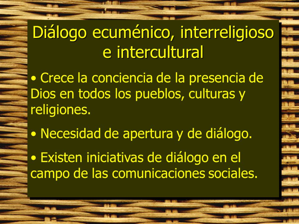 Diálogo ecuménico, interreligioso e intercultural