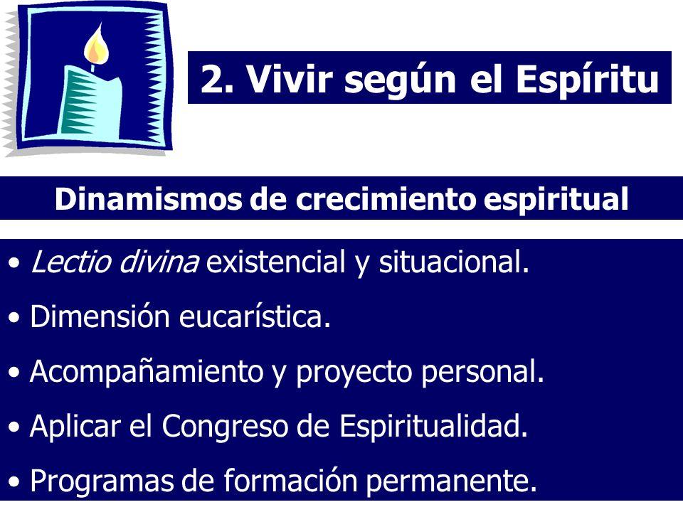 2. Vivir según el Espíritu Dinamismos de crecimiento espiritual