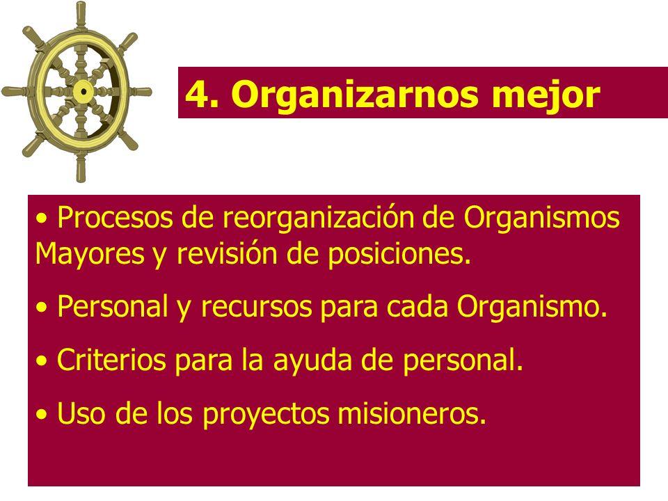 4. Organizarnos mejor Procesos de reorganización de Organismos Mayores y revisión de posiciones. Personal y recursos para cada Organismo.