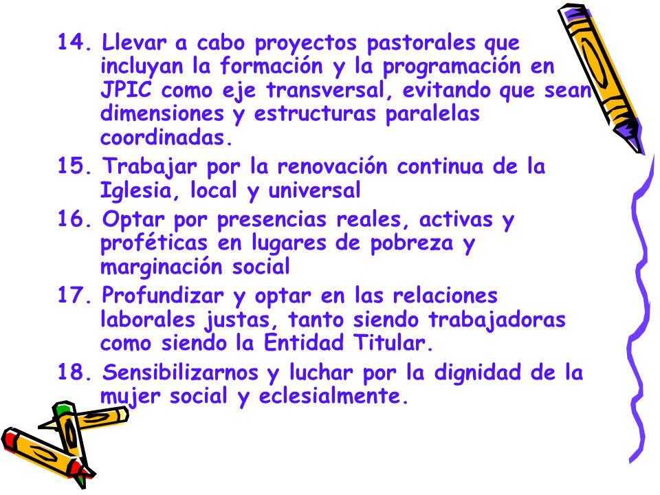 14. Llevar a cabo proyectos pastorales que incluyan la formación y la programación en JPIC como eje transversal, evitando que sean dimensiones y estructuras paralelas coordinadas.