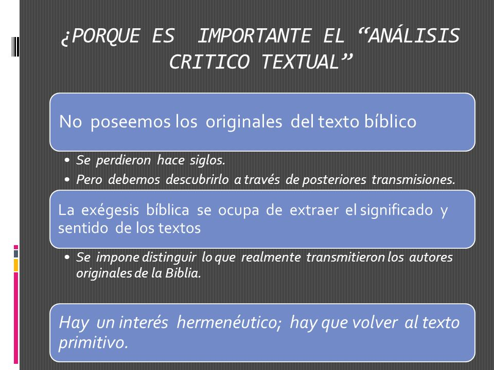 ¿PORQUE ES IMPORTANTE EL ANÁLISIS CRITICO TEXTUAL