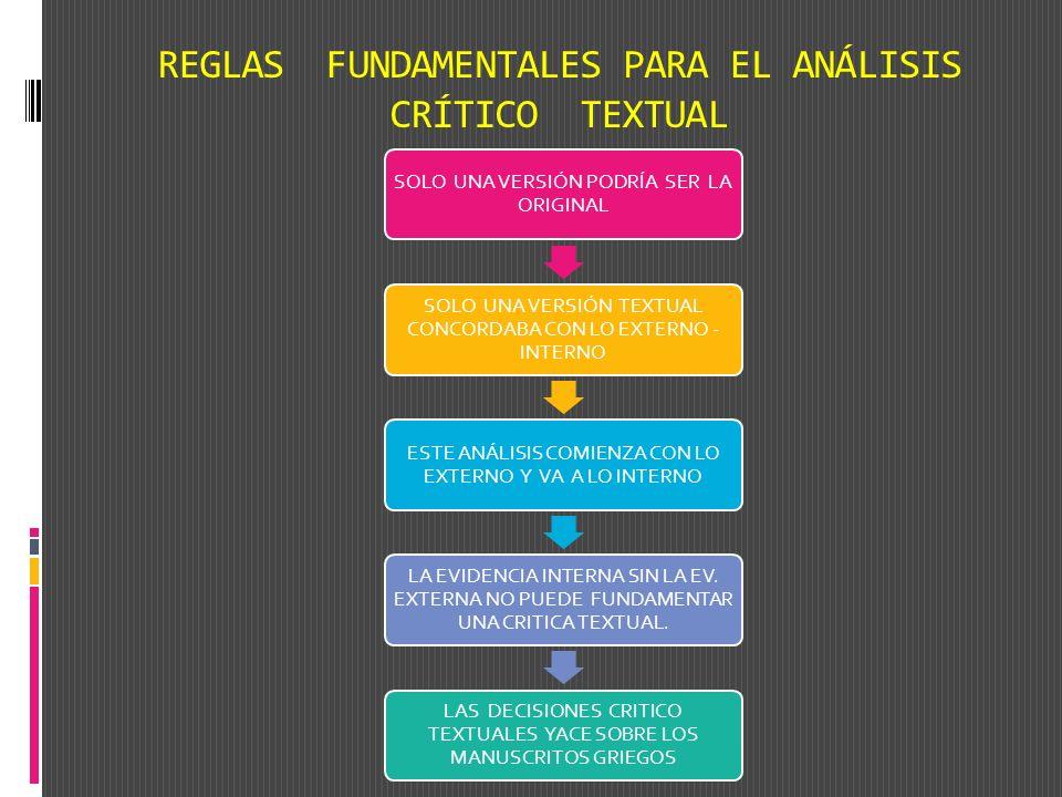 REGLAS FUNDAMENTALES PARA EL ANÁLISIS CRÍTICO TEXTUAL