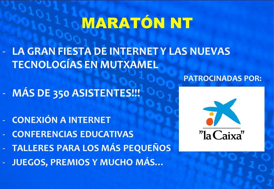 MARATÓN NT LA GRAN FIESTA DE INTERNET Y LAS NUEVAS TECNOLOGÍAS EN MUTXAMEL. PATROCINADAS POR: MÁS DE 350 ASISTENTES!!!