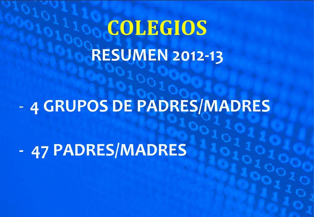 COLEGIOS RESUMEN 2012-13 4 GRUPOS DE PADRES/MADRES - 47 PADRES/MADRES
