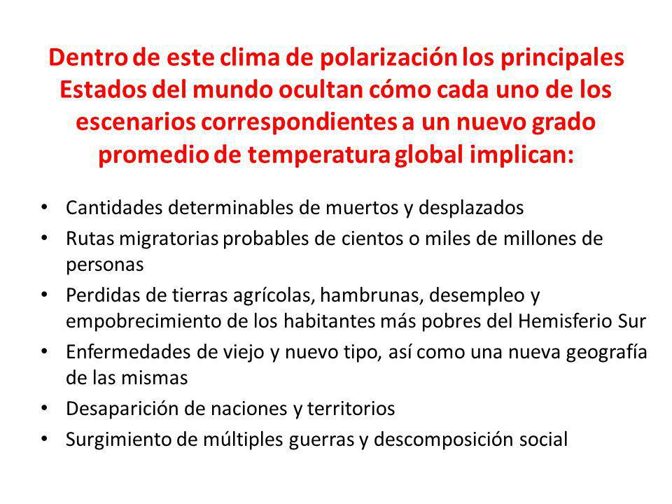 Dentro de este clima de polarización los principales Estados del mundo ocultan cómo cada uno de los escenarios correspondientes a un nuevo grado promedio de temperatura global implican: