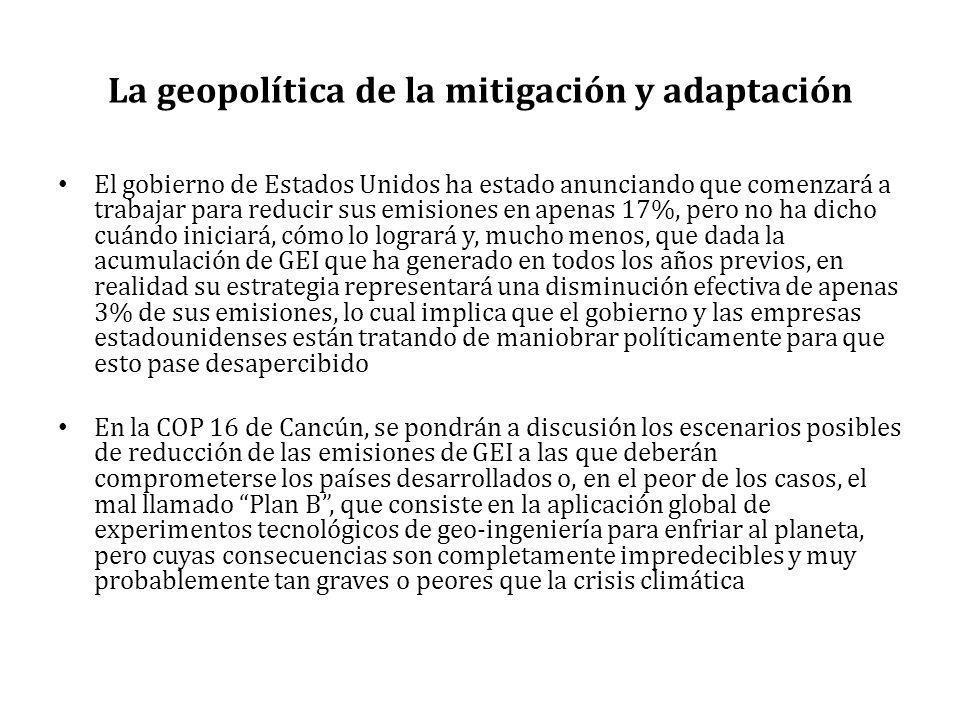La geopolítica de la mitigación y adaptación