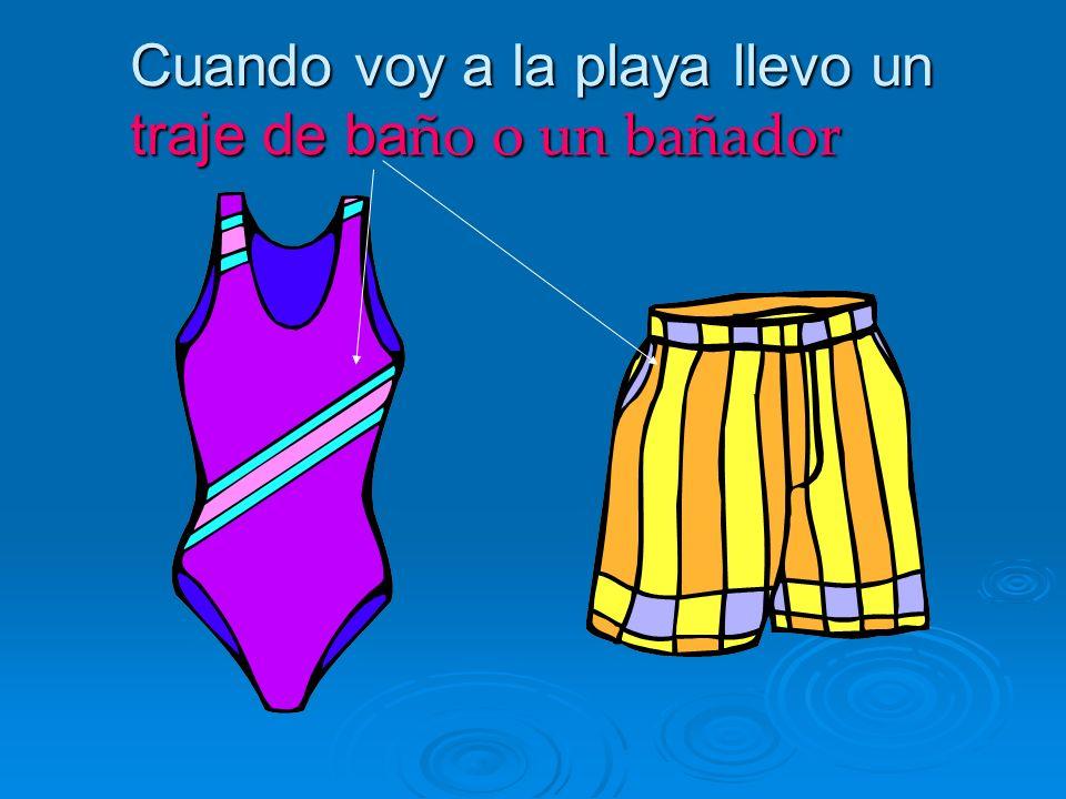 Cuando voy a la playa llevo un traje de baño o un bañador