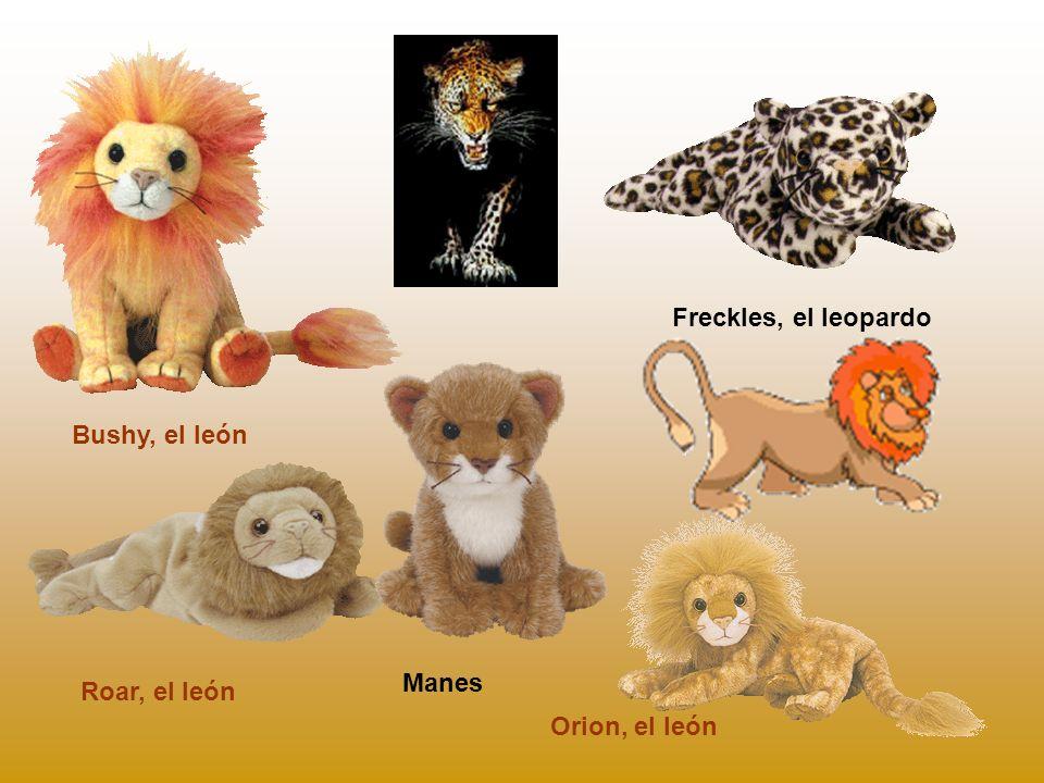 Freckles, el leopardo Bushy, el león Manes Roar, el león Orion, el león