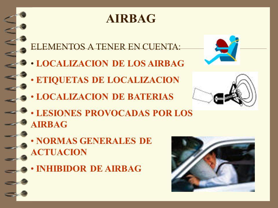 AIRBAG ELEMENTOS A TENER EN CUENTA: LOCALIZACION DE LOS AIRBAG