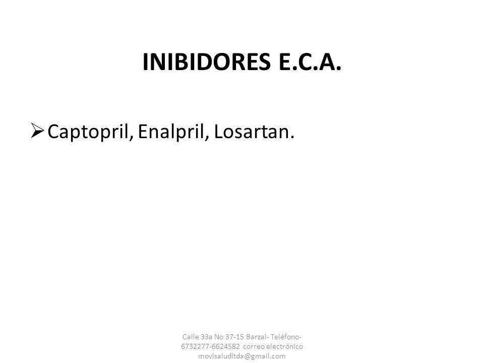INIBIDORES E.C.A. Captopril, Enalpril, Losartan.