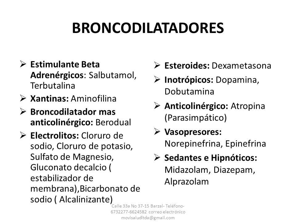 BRONCODILATADORES Estimulante Beta Adrenérgicos: Salbutamol, Terbutalina. Xantinas: Aminofilina. Broncodilatador mas anticolinérgico: Berodual.