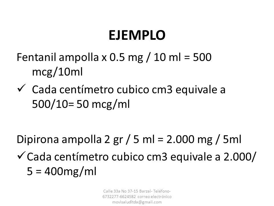 EJEMPLO Fentanil ampolla x 0.5 mg / 10 ml = 500 mcg/10ml
