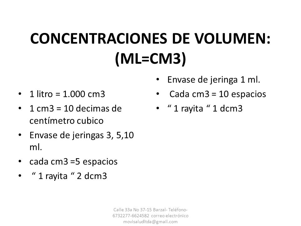 CONCENTRACIONES DE VOLUMEN: (ML=CM3)