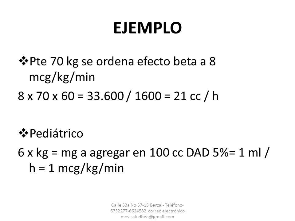 EJEMPLO Pte 70 kg se ordena efecto beta a 8 mcg/kg/min