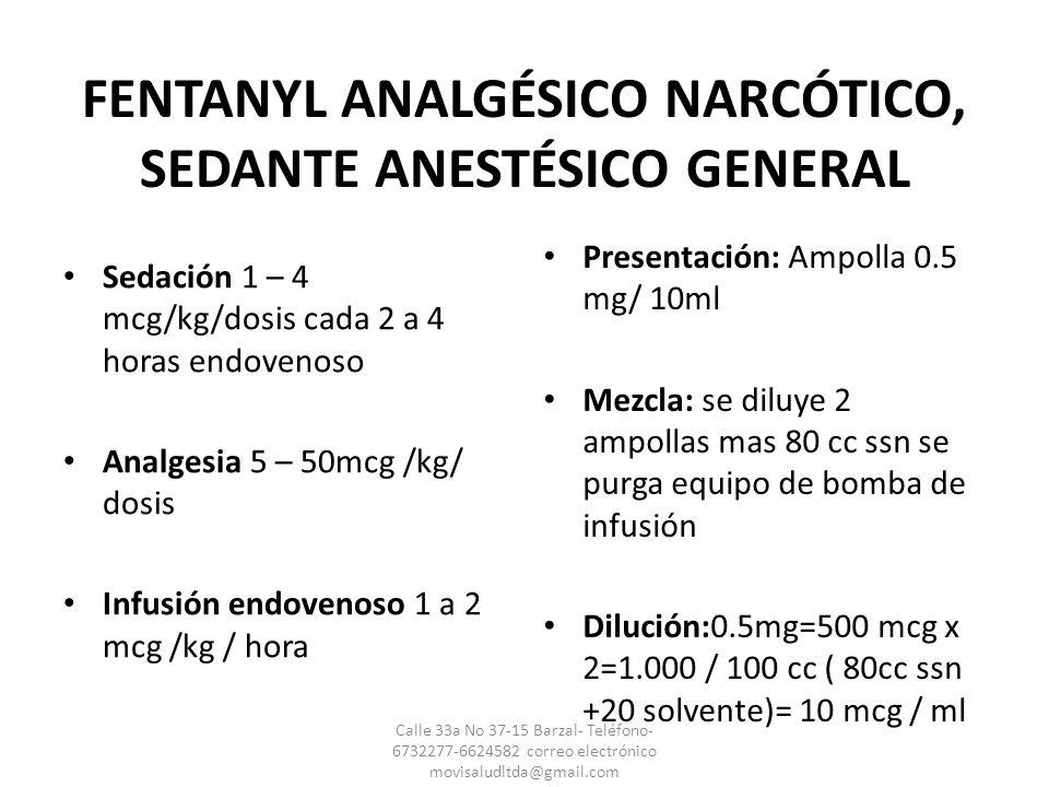 FENTANYL ANALGÉSICO NARCÓTICO, SEDANTE ANESTÉSICO GENERAL