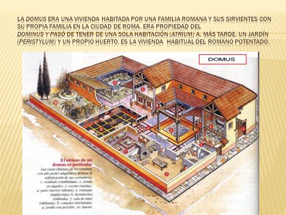 La domus era una vivienda habitada por una familia romana y sus sirvientes con su propia familia en la ciudad de Roma.