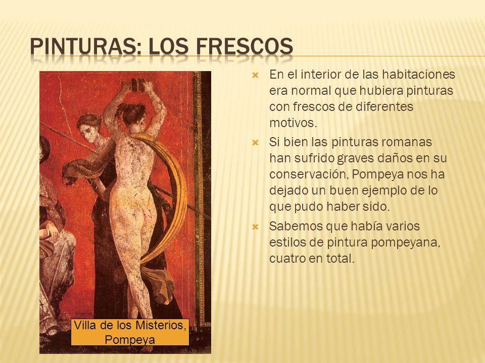 Pinturas: los frescos En el interior de las habitaciones era normal que hubiera pinturas con frescos de diferentes motivos.