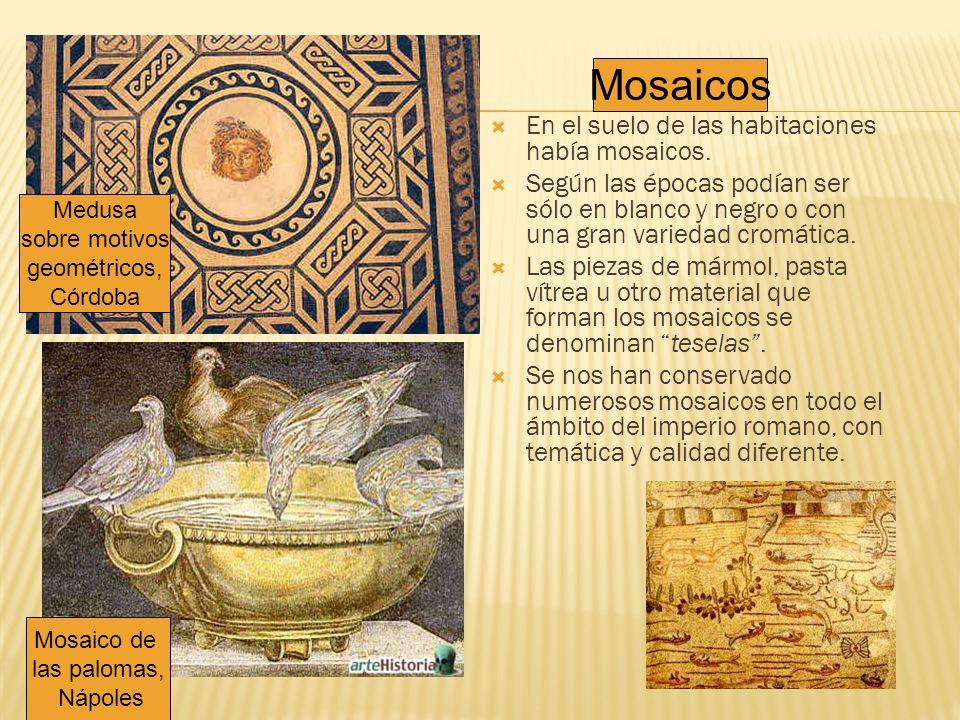 Mosaicos En el suelo de las habitaciones había mosaicos.