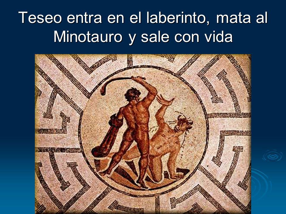 Teseo entra en el laberinto, mata al Minotauro y sale con vida