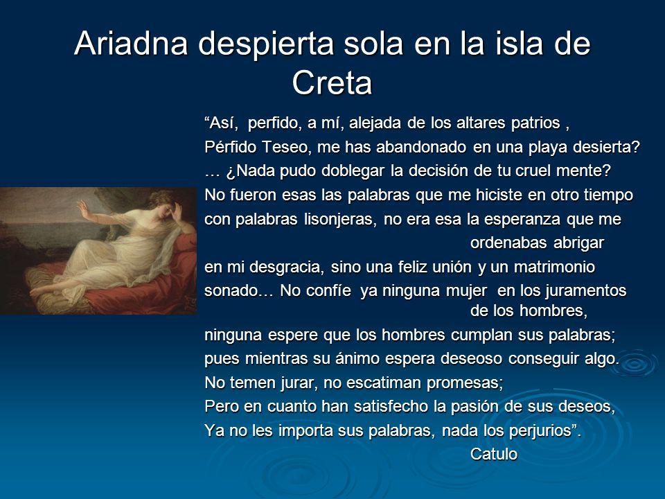 Ariadna despierta sola en la isla de Creta