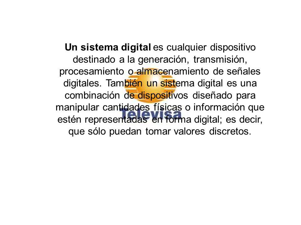 Un sistema digital es cualquier dispositivo destinado a la generación, transmisión, procesamiento o almacenamiento de señales digitales. También un sistema digital es una combinación de dispositivos diseñado para manipular cantidades físicas o información que estén representadas en forma digital; es decir, que sólo puedan tomar valores discretos.