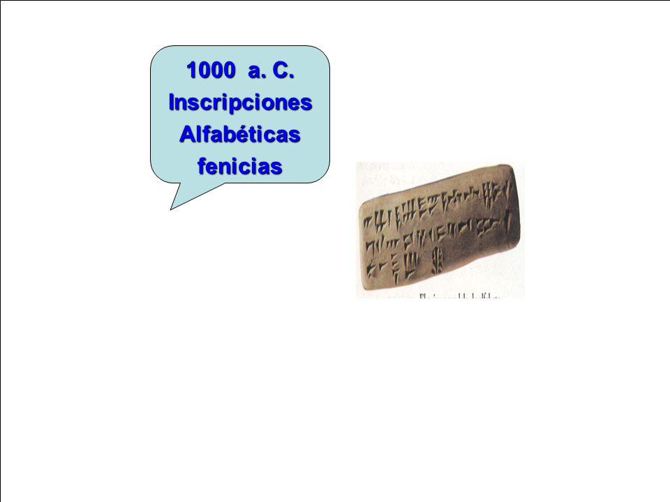 1000 a. C. Inscripciones Alfabéticas fenicias