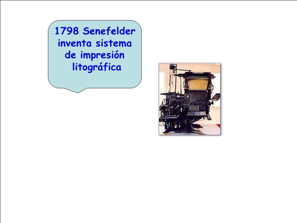 1798 Senefelder inventa sistema de impresión litográfica