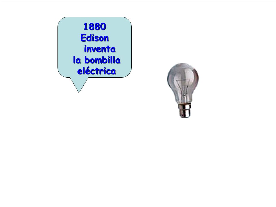1880 Edison inventa la bombilla eléctrica