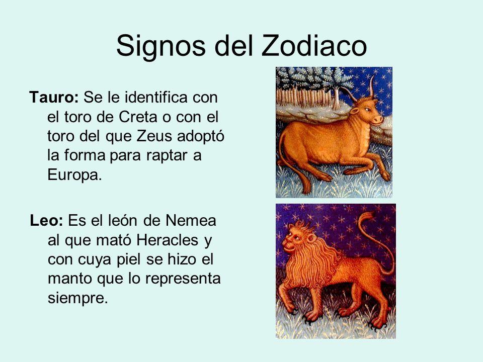 Signos del Zodiaco Tauro: Se le identifica con el toro de Creta o con el toro del que Zeus adoptó la forma para raptar a Europa.