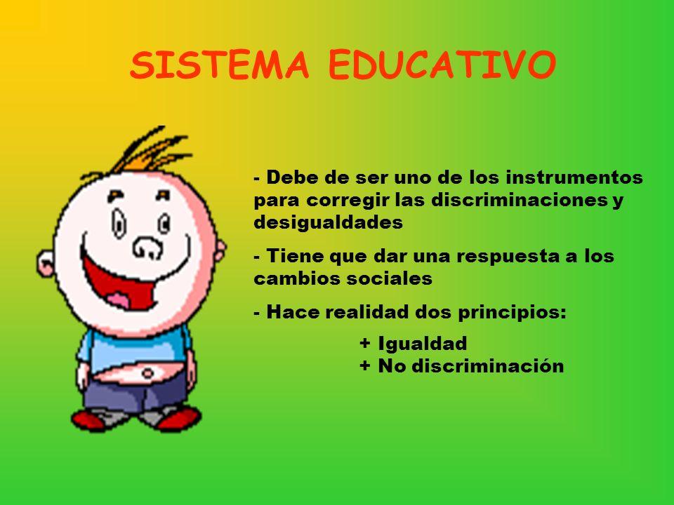 SISTEMA EDUCATIVO Debe de ser uno de los instrumentos para corregir las discriminaciones y desigualdades.