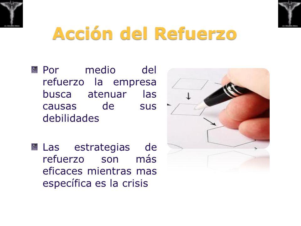 Acción del Refuerzo Por medio del refuerzo la empresa busca atenuar las causas de sus debilidades.