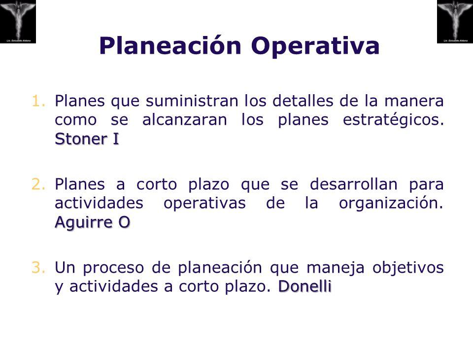 Planeación Operativa Planes que suministran los detalles de la manera como se alcanzaran los planes estratégicos. Stoner I.