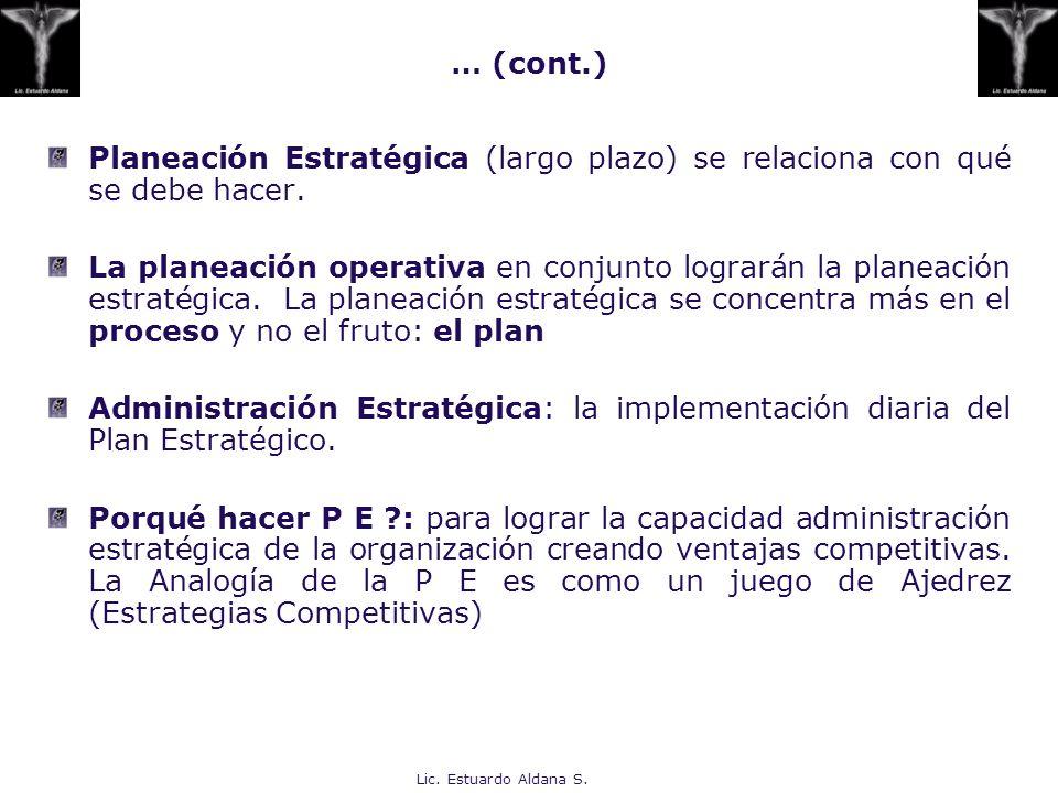 … (cont.) Planeación Estratégica (largo plazo) se relaciona con qué se debe hacer.
