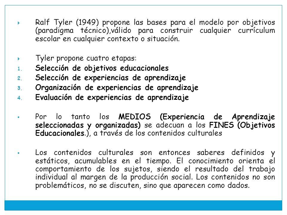 Ralf Tyler (1949) propone las bases para el modelo por objetivos (paradigma técnico),válido para construir cualquier currículum escolar en cualquier contexto o situación.