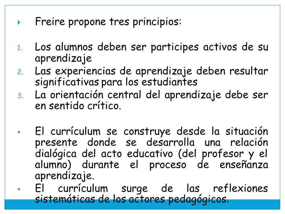 Freire propone tres principios: