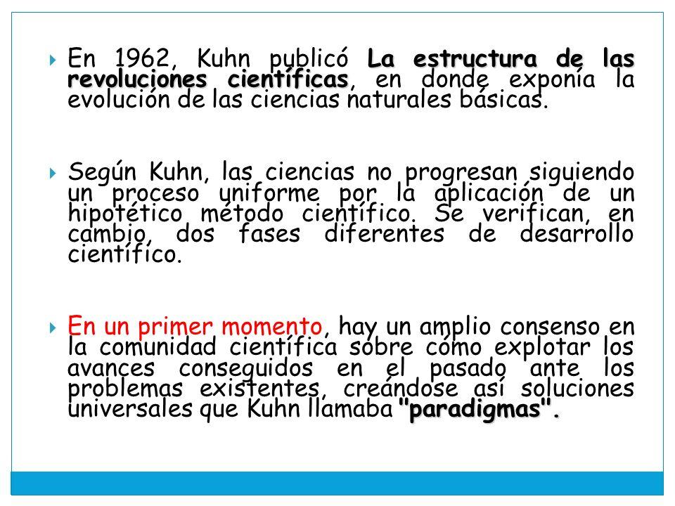 En 1962, Kuhn publicó La estructura de las revoluciones científicas, en donde exponía la evolución de las ciencias naturales básicas.