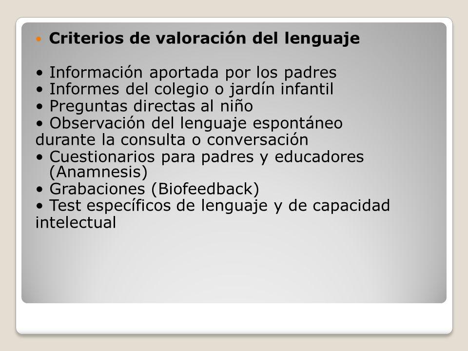 Criterios de valoración del lenguaje