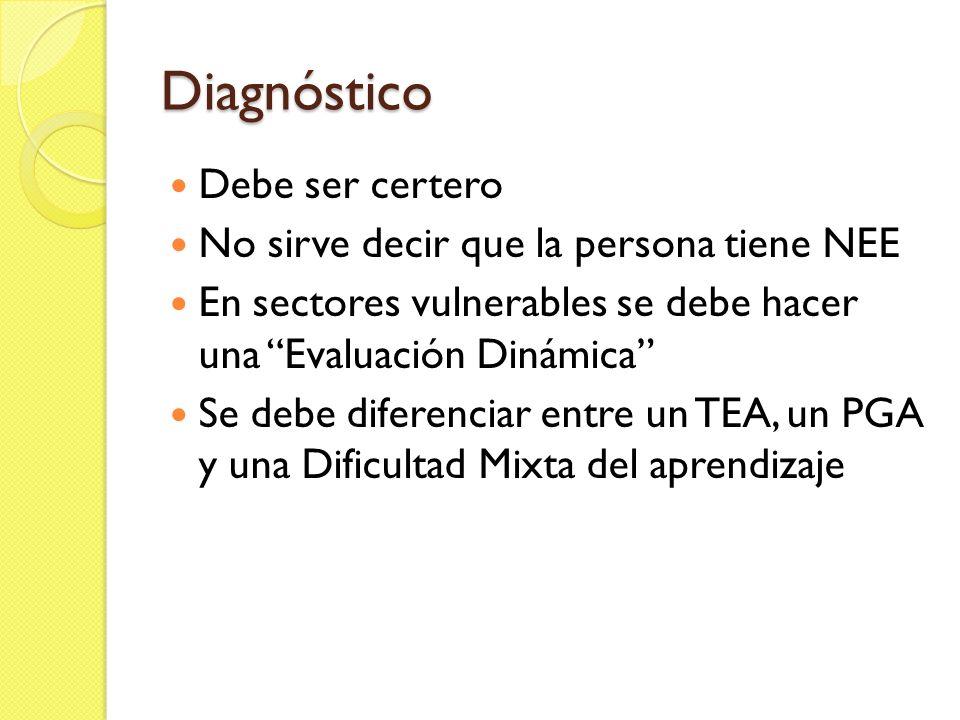 Diagnóstico Debe ser certero No sirve decir que la persona tiene NEE
