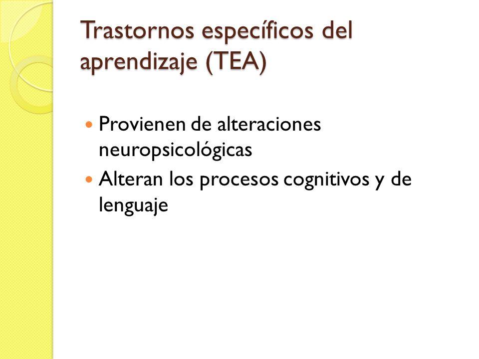 Trastornos específicos del aprendizaje (TEA)