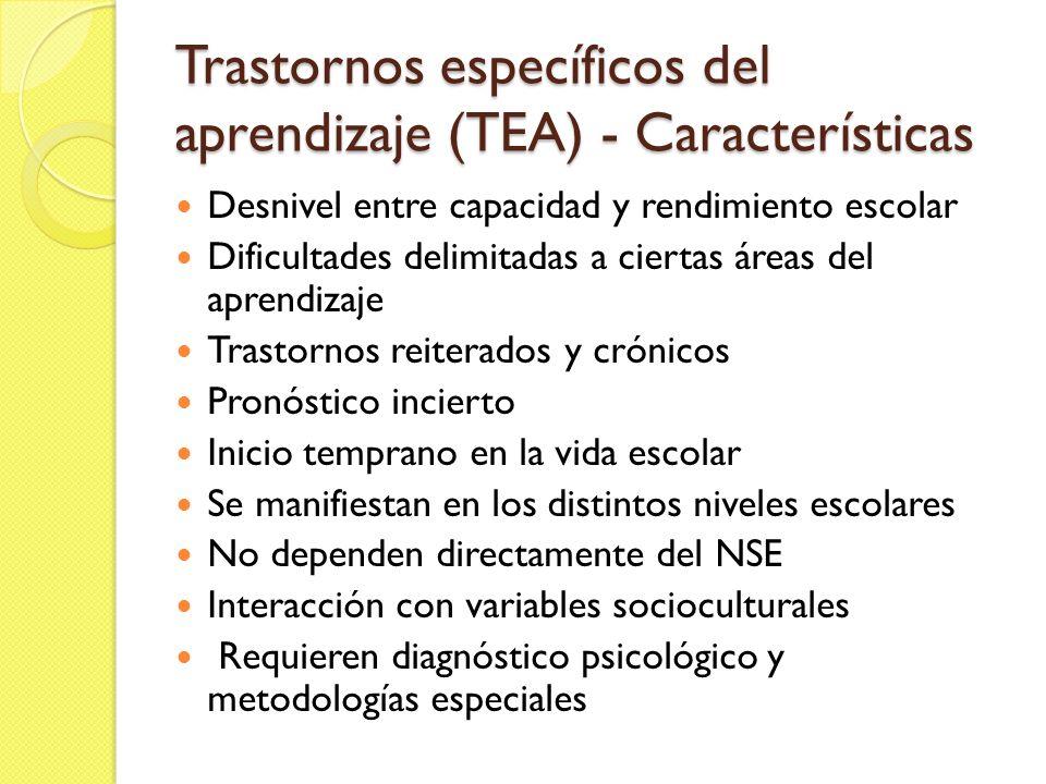 Trastornos específicos del aprendizaje (TEA) - Características