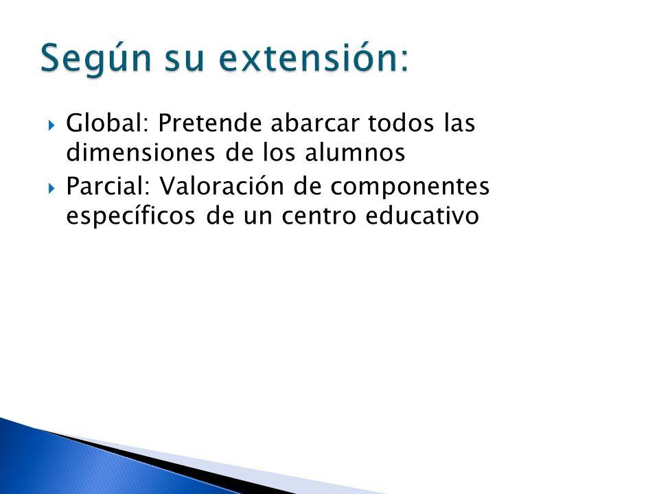 Según su extensión: Global: Pretende abarcar todos las dimensiones de los alumnos.