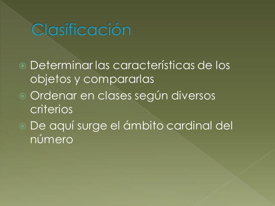 Clasificación Determinar las características de los objetos y compararlas. Ordenar en clases según diversos criterios.