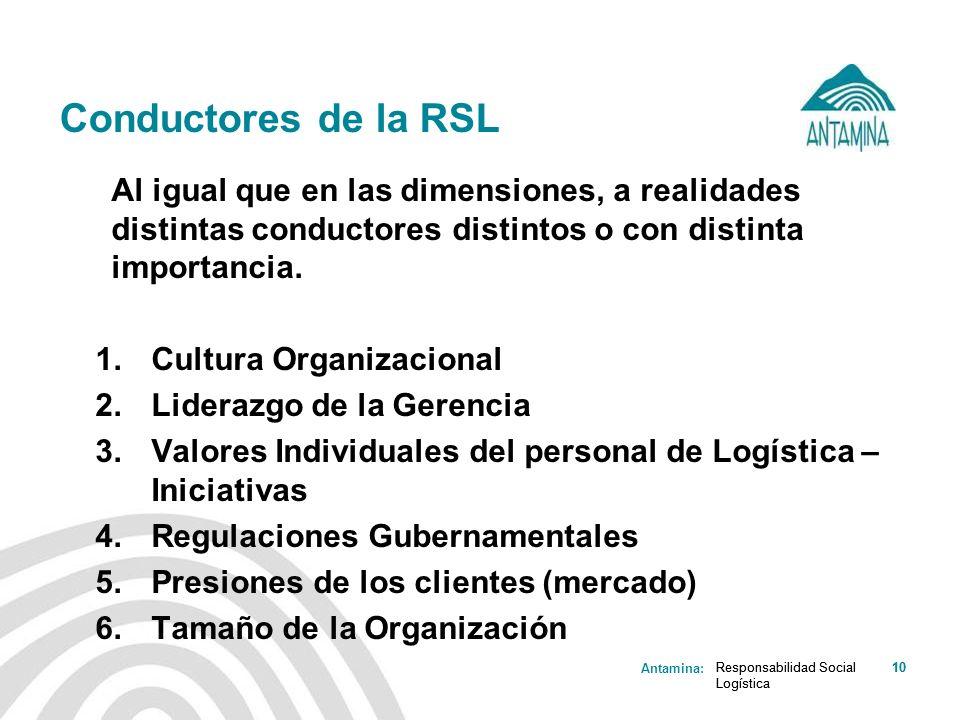 Conductores de la RSL Cultura Organizacional Liderazgo de la Gerencia