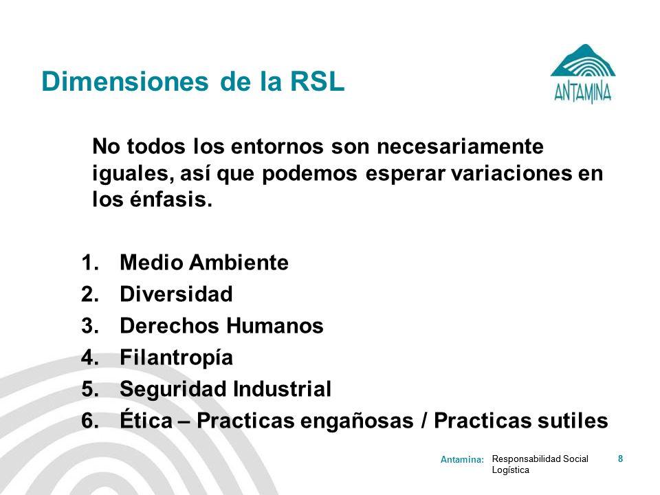 Dimensiones de la RSL No todos los entornos son necesariamente iguales, así que podemos esperar variaciones en los énfasis.