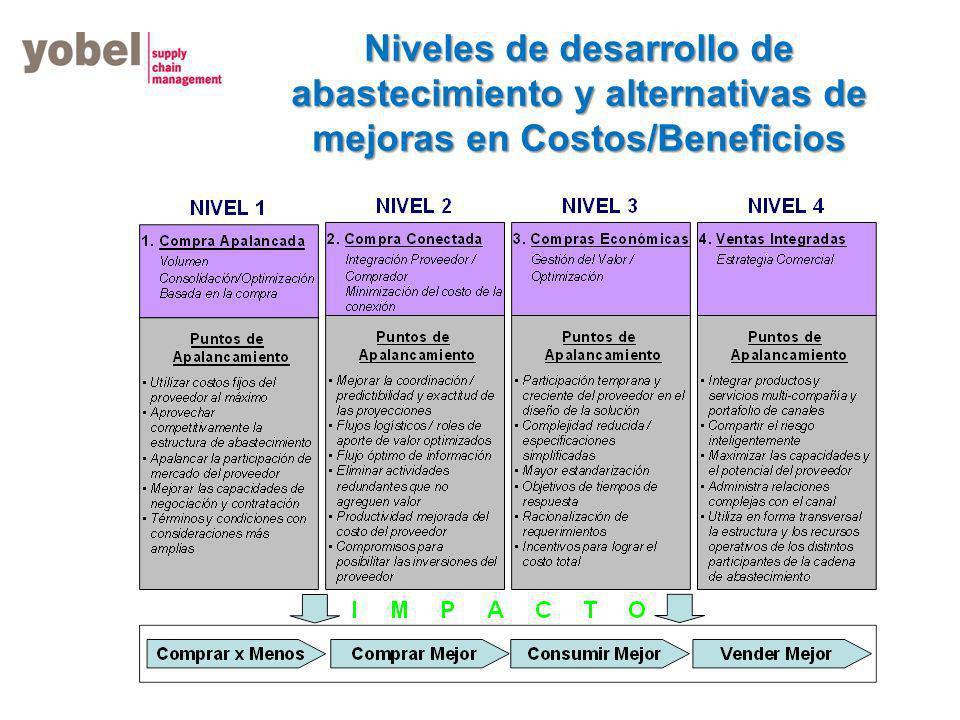Niveles de desarrollo de abastecimiento y alternativas de mejoras en Costos/Beneficios