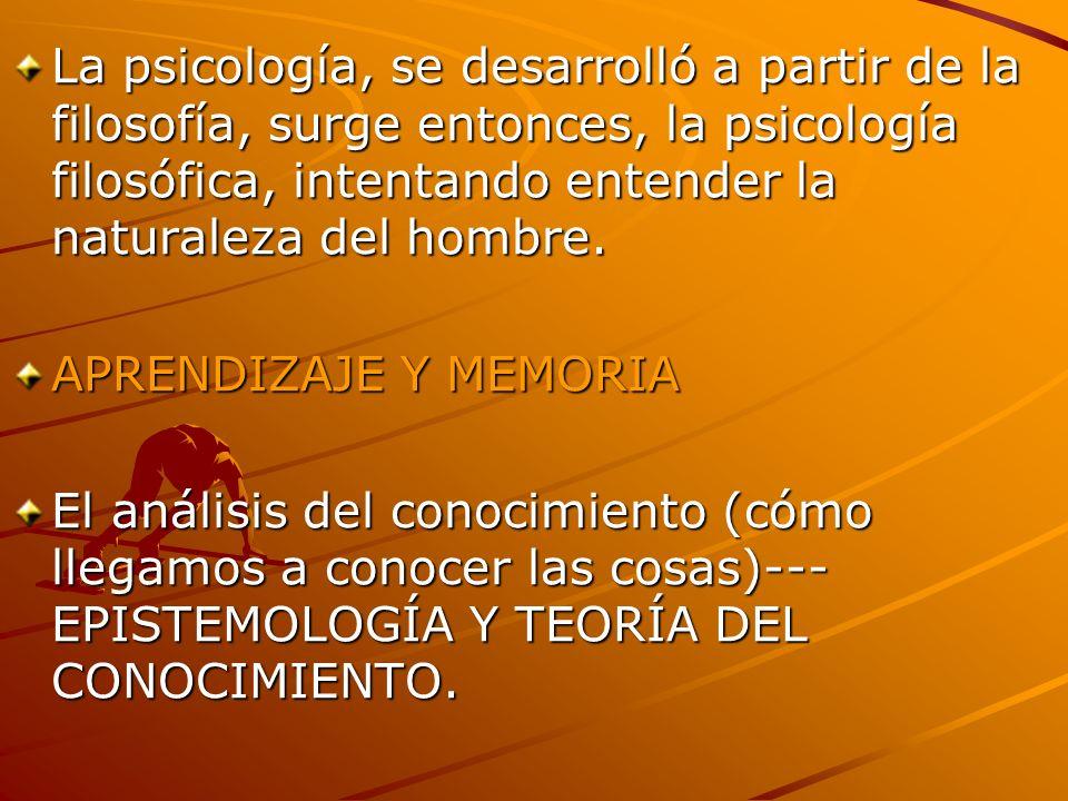 La psicología, se desarrolló a partir de la filosofía, surge entonces, la psicología filosófica, intentando entender la naturaleza del hombre.