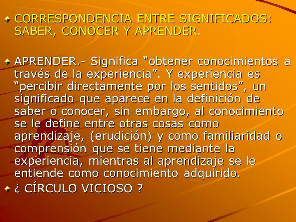 CORRESPONDENCIA ENTRE SIGNIFICADOS: SABER, CONOCER Y APRENDER.